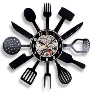 Horloge Murale Industrielle Ustensiles de Cuisine
