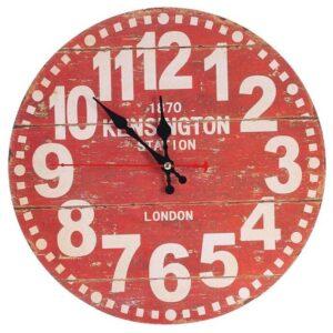 Horloge Murale Industrielle London 1870 Rouge