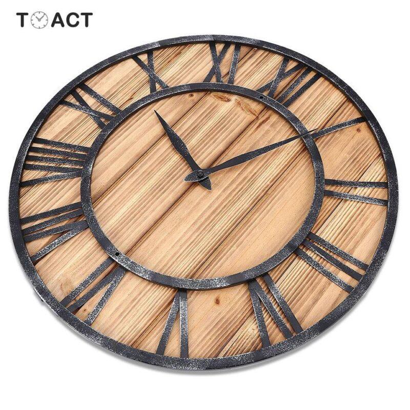 Horloge Murale Industrielle Bois et Métal