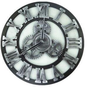 Horloge Murale Industrielle Engrenage Argenté