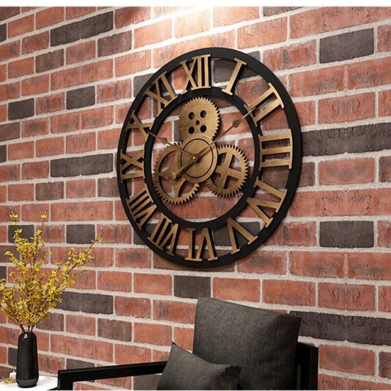Horloge Murale Industrielle Engrenage d'Antan
