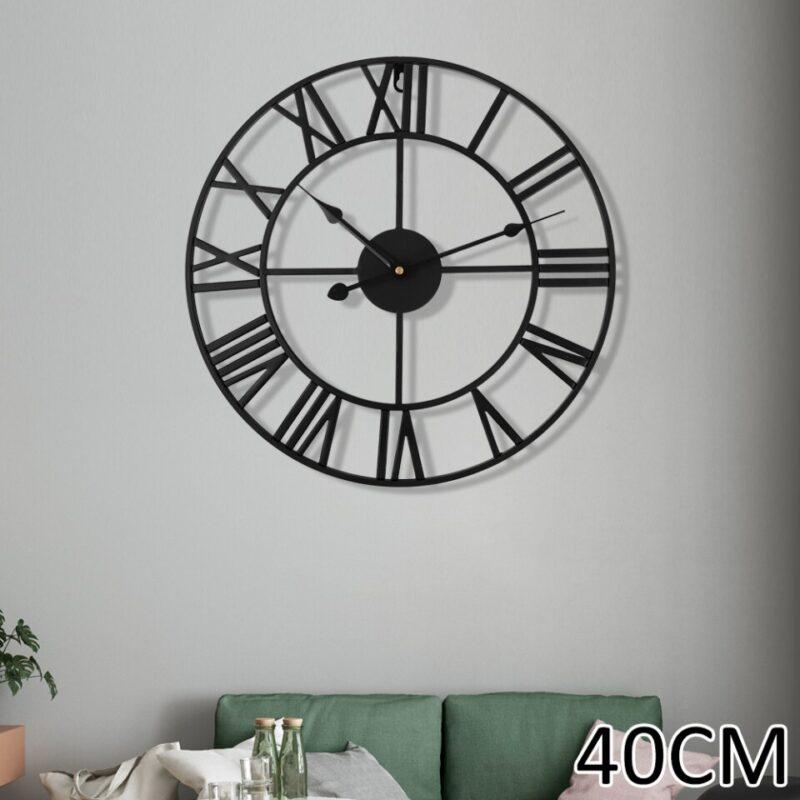 Horloge Murale Industrielle Noire Design