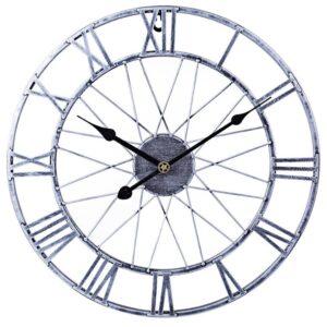 Horloge Murale Industrielle Argentée
