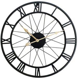 Horloge Murale Industrielle Noire Moderne